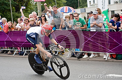 Bradley Wiggins in the Olympic Time Trial Editorial Stock Image