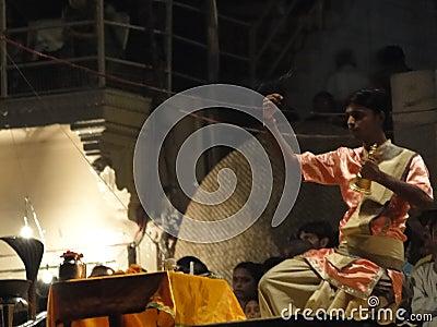 Brahmin priests conduct aarti Editorial Photo