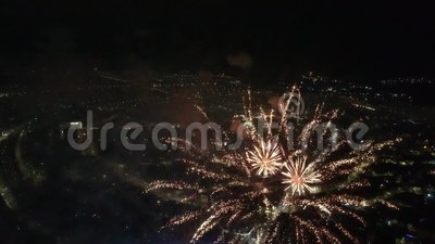 Braila Romania - The New Year`s Festive Fireworks. Braila City Romania - The New Year`s Festive Fireworks stock video footage