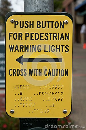 Braille Cross Walk Sign For The Blind