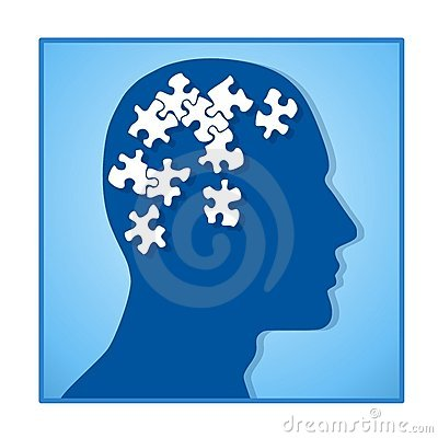 Brain as Puzzle Pieces In Head