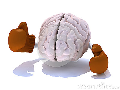 Brain with boxing gloves
