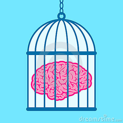 Brain captured in birdcage