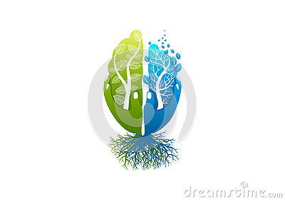 Brain care logo, healthy psychology icon, alzheimer symbol, nature mind concept design Vector Illustration