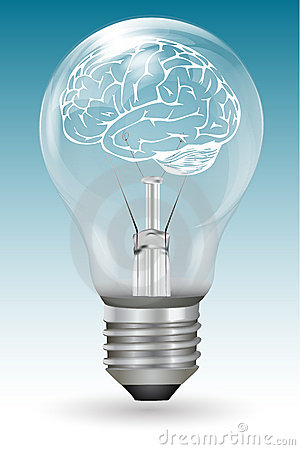 Brain in electric bulb