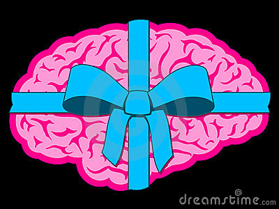 Brain gift with blue bow