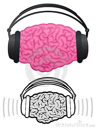 Brain with headphones listening to music