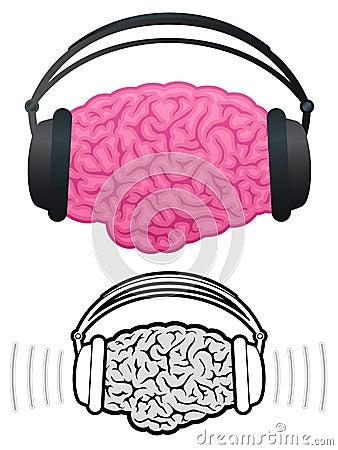 Brain with headphones listening to music