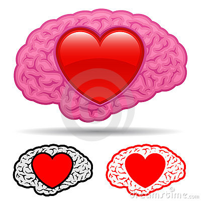 Brain with heart thinking of love