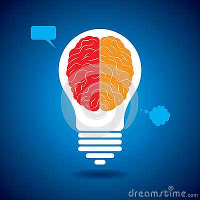Brain with idea bulb