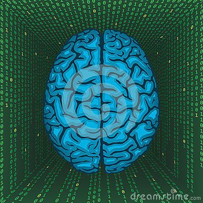 Brain inside digital matrix.