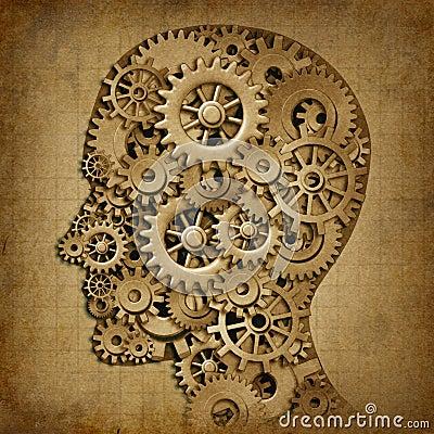 Brain intelligence grunge machine medical symbol