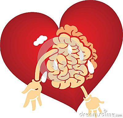 Brain love graphics red