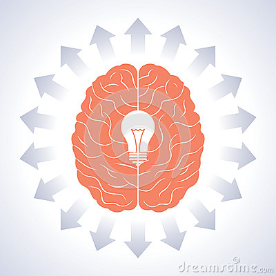 Brain and moving arrow