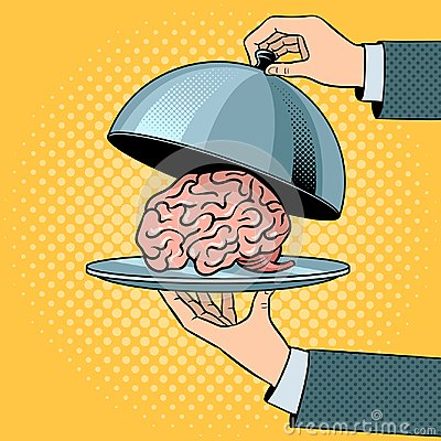 Free Brain On Dish With Cloche Pop Art Vector Royalty Free Stock Images - 115044699