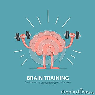 Free Brain Power. Brain Exercise. Cartoon Brain Character Lifting Dumbbells.  Stock Images - 95243034