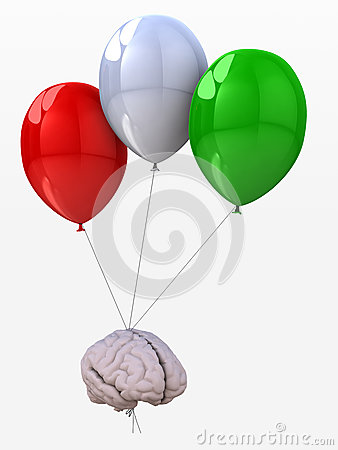 Brain tied to a balloons that flies