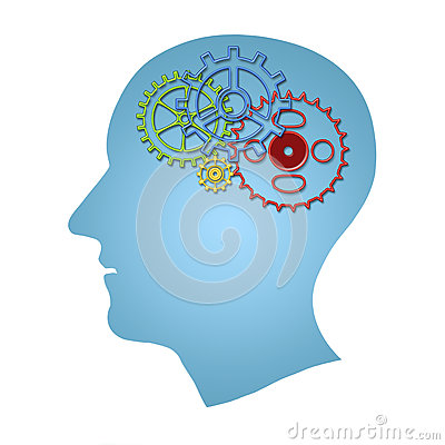 Brain works concept. Thinking, creativity concept of the human head with gears inside isolated over white Stock Photo