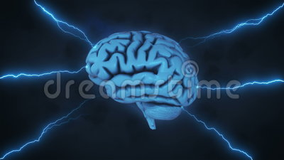 Brainstorm with clouds and lightning. 3D render of brain in stormy sky with clouds and flashes of lightning illustrating abstract concept of thought process vector illustration