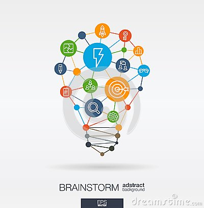 Brainstorm integrated thin line icons in idea light bulb shape. Digital neural network interact concept. Idea, solution Vector Illustration