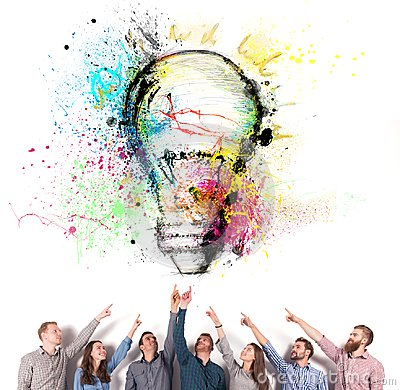 Free Brainstorming Concept With Businessmen That Indicate An A Lamp. Concept Of Idea And Company Startup Stock Photos - 103740693