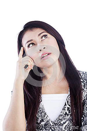 Brainstorming-woman-isolated-over-white