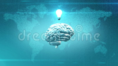 Brainwave concept - Brain in front of Earth illustration with lightbulb. CGI rendered brain with light bulb abovein front of digital map of the Earth royalty free illustration