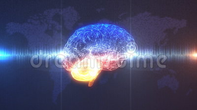 Brainwave concept - Brain in front of Earth illustration. Brain wave - profile view of CGI rendered brain with electrical current running through it in front of vector illustration