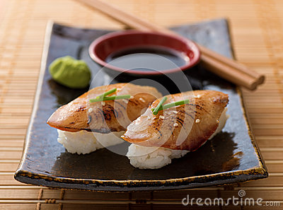Braised Eel Nigiri Stock Photo