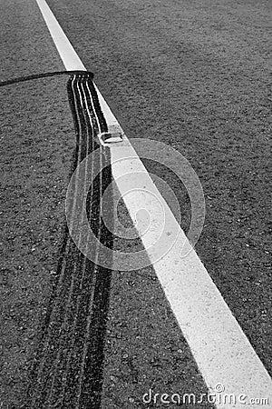 Brake Markings on a Tar road