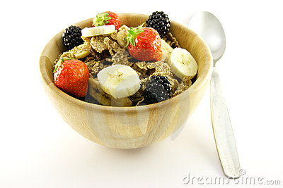 Bran Flakes in a Woodden Bowl