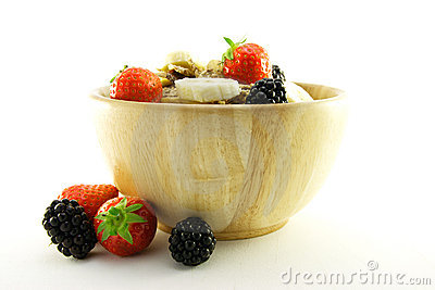 Bran Flakes in a Wooden Bowl