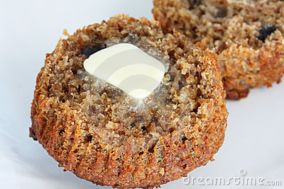 Bran muffin with butter