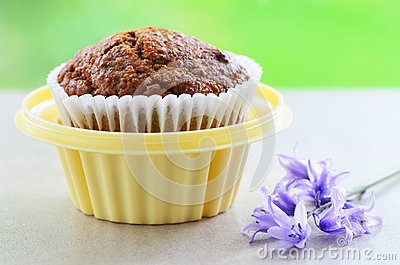Bran muffin in cupcake holder