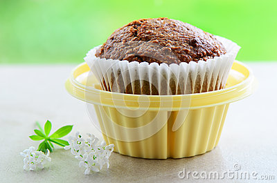 Bran muffin in cupcake holder