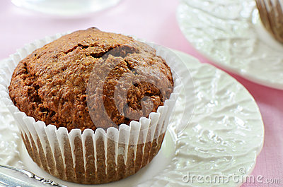 Bran muffin on pretty plate