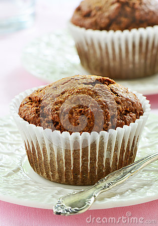 Bran muffins on pretty plates