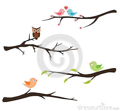 Branch with birds and owl Vector Illustration