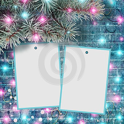 Free Branch Of Spruce With Bright Garlands And Lights, With Frame For Text Or Photo Royalty Free Stock Photography - 123712437