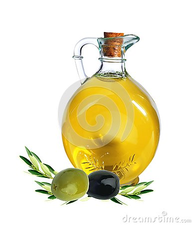 Branch with olives and bottle of olive oil