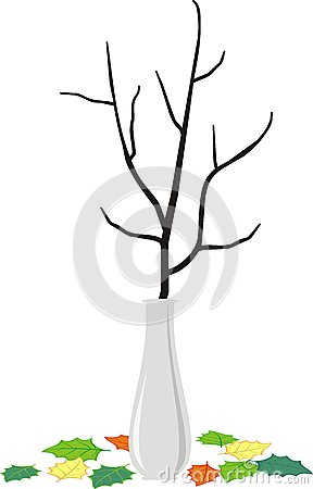 Branch in vase and fallen down leaves - cartoon st