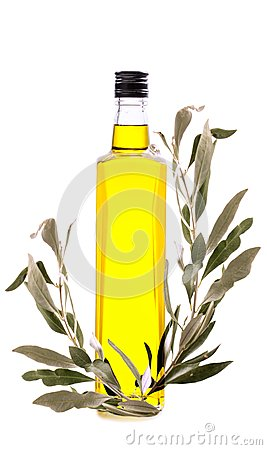 Free Branch With Green Olives And A Bottle Of Olive Oil Isolated On W Stock Images - 109051414