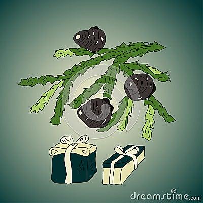 Branchement d arbre de Noël avec des cônes