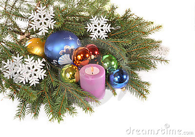 Branches Ate With Toys And Candles Royalty Free Stock Images - Image: 22104399