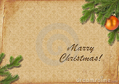 Branches Of A Christmas Tree On Old Lpaper. Retro. Royalty Free Stock Photography - Image: 7348737