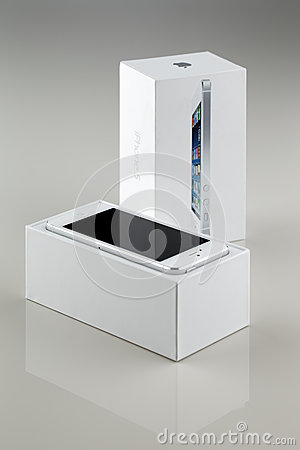 A brand new white Apple iPhone 5 in a box Editorial Photography