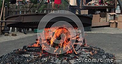 Brand voor het roosteren van kastanjes stock footage