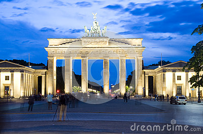 Brandenburg Gate Berlin Germany night lights scene