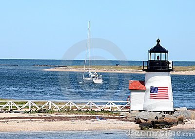Brant Point Lighthouse, Nantucket, MA Editorial Photo