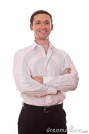 Braços positivos do homem de negócios dobrados